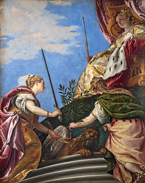 Paolo Veronese - Venezia in trono onorata dalla Giustizia e la Pace - Palazzo Ducale